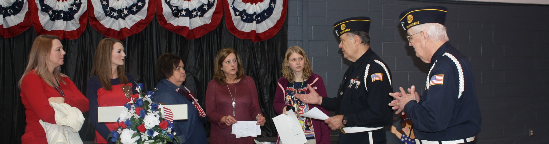 Johnson County Honor Guard and Laurel Elementary staff prepare for the Veteran's Day Service.
